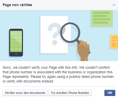 Validation page Facebook